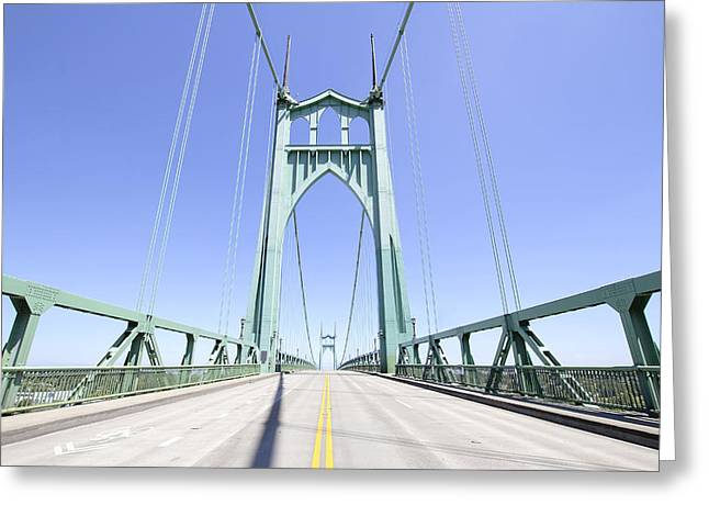Double Bicycle Greeting Cards - St Johns Bridge Against Clear Blue Sky Greeting Card by JPLDesigns