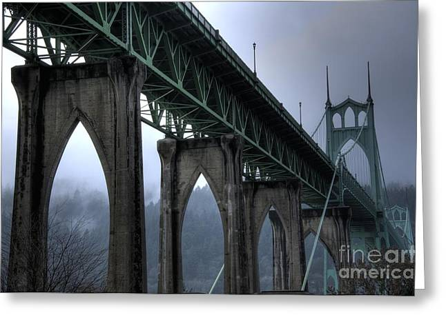 St Johns Bridge Oregon Greeting Card by Bob Christopher
