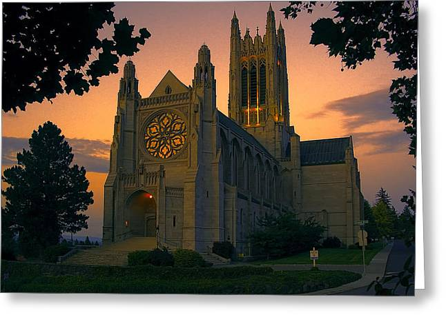 Spokane Greeting Cards - St Johns Cathedral - Spokane Greeting Card by Daniel Hagerman