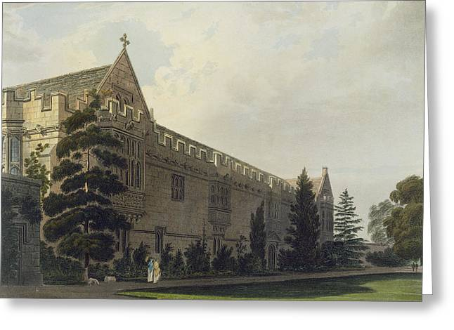 Florida State Drawings Greeting Cards - St Johns College Seen From The Garden Greeting Card by Frederick Mackenzie