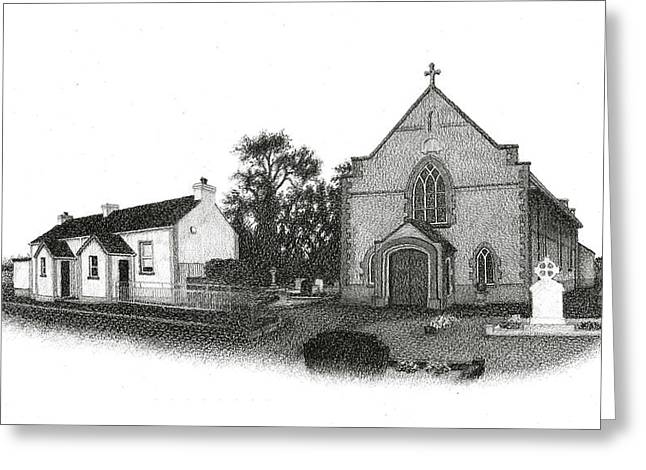Conor Drawings Greeting Cards - St. Johns School and Chapel - Annaghmore Greeting Card by Conor OBrien