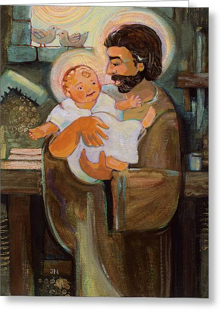 Religious Art Greeting Cards - St. Joseph and Baby Jesus Greeting Card by Jen Norton