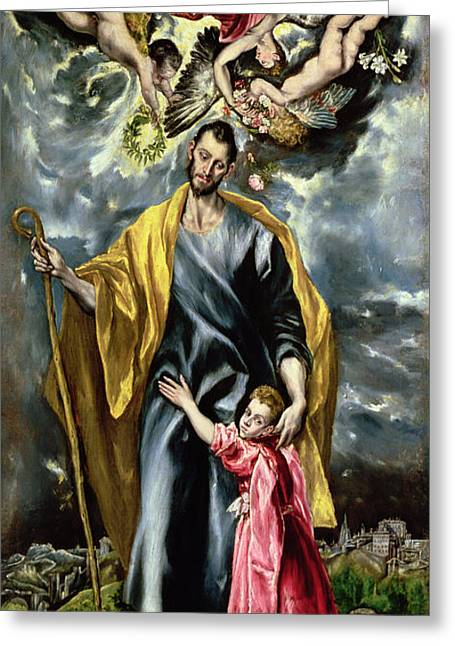 Crooked Greeting Cards - St. Joseph And The Christ Child, 1597-99 Oil On Canvas Greeting Card by El Greco