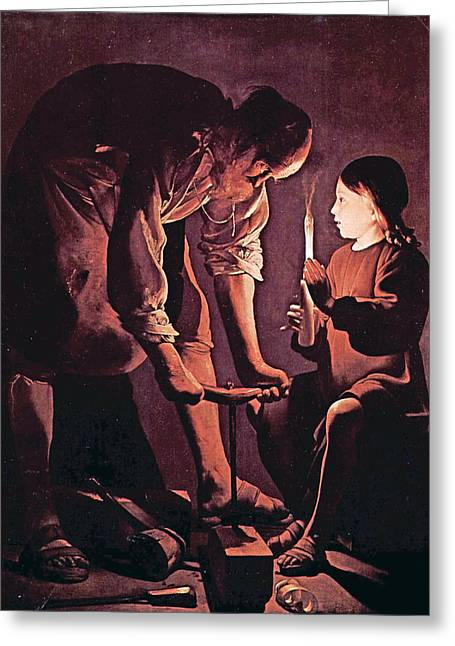 Child Jesus Greeting Cards - St Joseph as the carpenter with child Jesus Greeting Card by Celestial Images