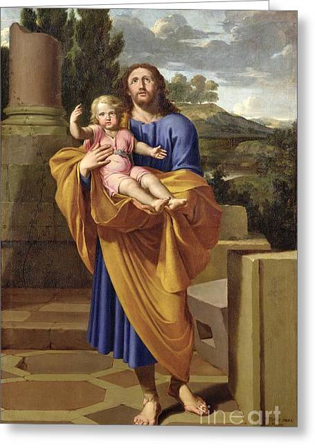 Christ Child Greeting Cards - St. Joseph Carrying the Infant Jesus Greeting Card by Pierre  Letellier