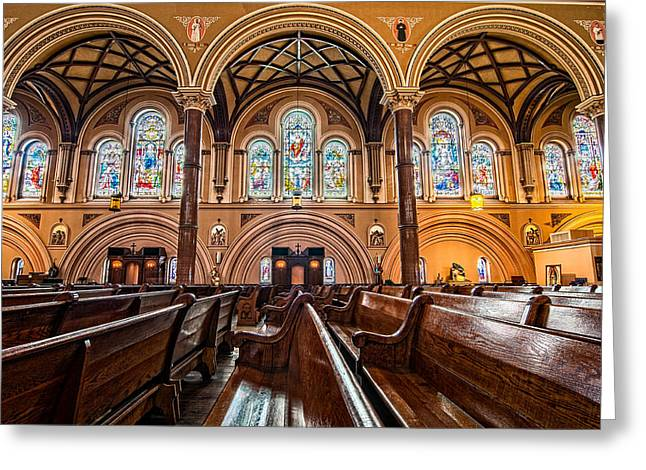 Tulane Greeting Cards - St. Joseph Church stained glass Greeting Card by Andy Crawford