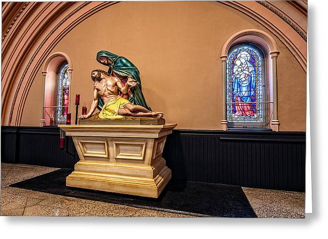 Tulane Greeting Cards - St. Joseph Church statuary Greeting Card by Andy Crawford