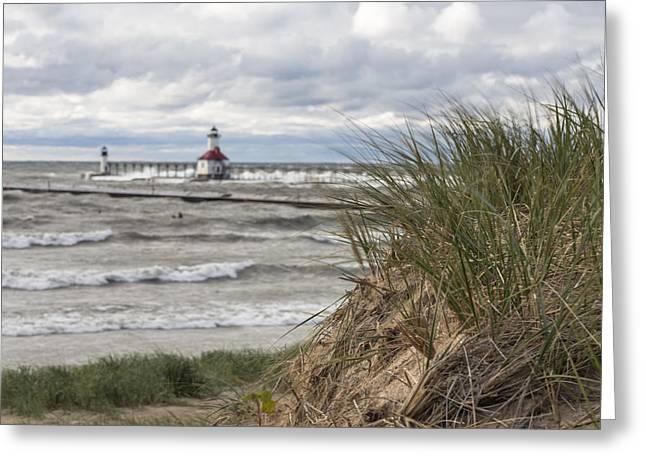 St Joseph Beach Greeting Cards - St Joseph Lighthouse and beach  Greeting Card by John McGraw