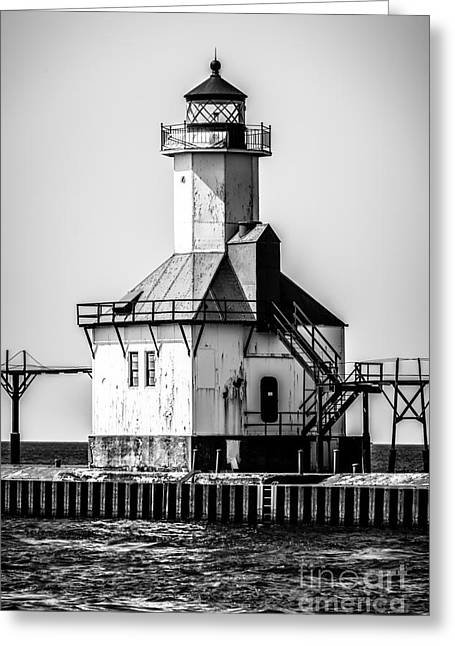Saint Joseph Greeting Cards - St. Joseph Lighthouse Black and White Picture  Greeting Card by Paul Velgos