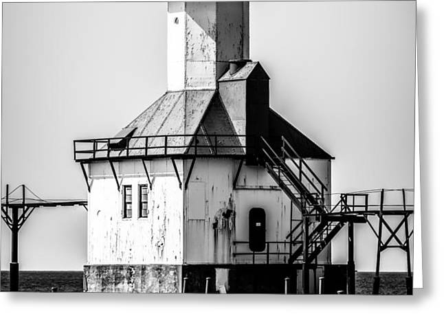 St. Joseph Lighthouse Black and White Picture  Greeting Card by Paul Velgos