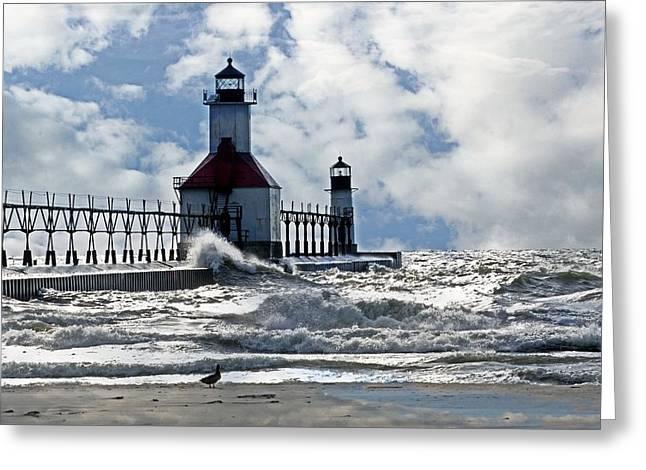 St Joseph Lighthouse Greeting Card by Cheryl Cencich