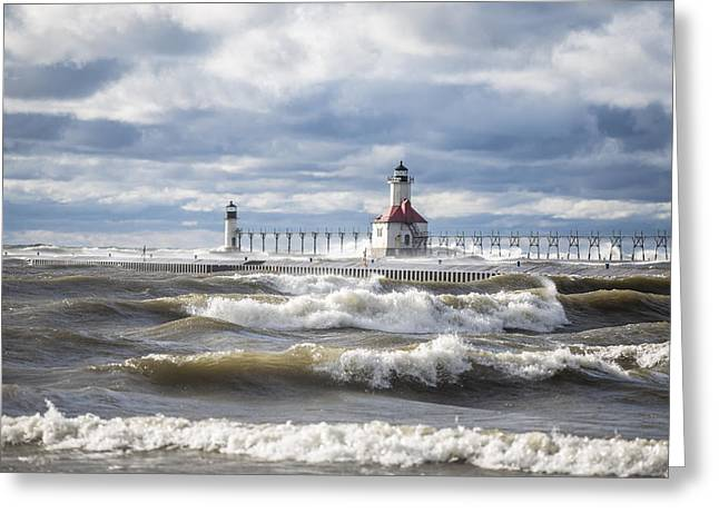 Michigan Greeting Cards - St Joseph Lighthouse on Windy Day Greeting Card by John McGraw