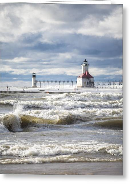 Pure Michigan Greeting Cards - St Joseph Lighthouse with waves Greeting Card by John McGraw