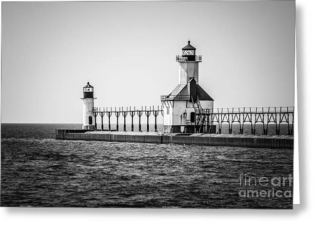 Saint Joseph Greeting Cards - St. Joseph Lighthouses Black and White Picture  Greeting Card by Paul Velgos