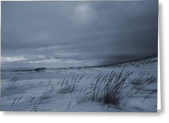 St Joseph Beach Greeting Cards - St Joseph Michigan Beach In Winter Greeting Card by Dan Sproul