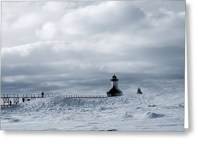 St Joseph Beach Greeting Cards - St Joseph Michigan Lighthouse In Winter Greeting Card by Dan Sproul