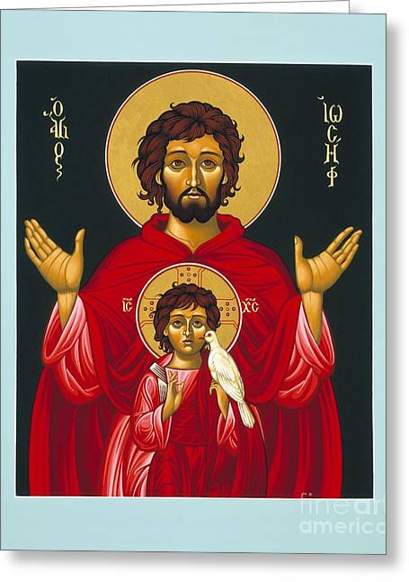 Sacred Paintings Greeting Cards - St. Joseph Shadow of the Father 039 Greeting Card by William Hart McNichols