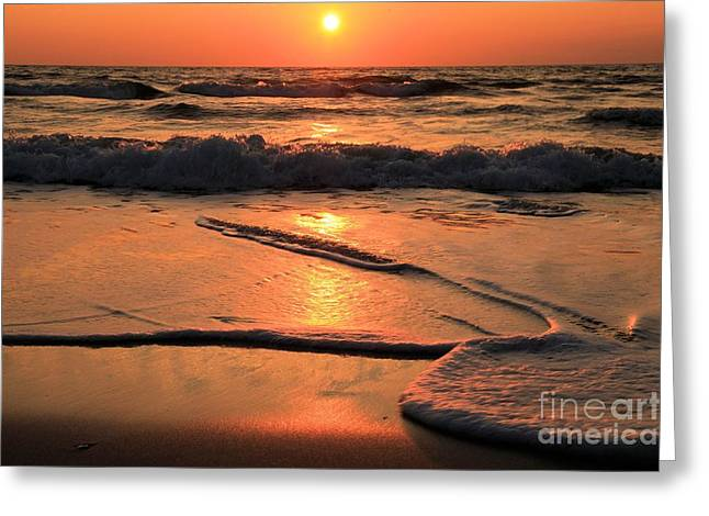 Pristine Beaches Greeting Cards - St. Joseph Sunset Swirls Greeting Card by Adam Jewell