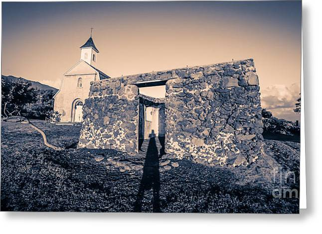 Crumbling Greeting Cards - St. Josephs Church Maui Hawaii Greeting Card by Edward Fielding