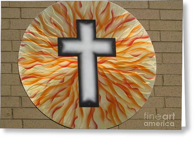 Religious Sculptures Greeting Cards - St. Josephs Cross Greeting Card by Rick Roth