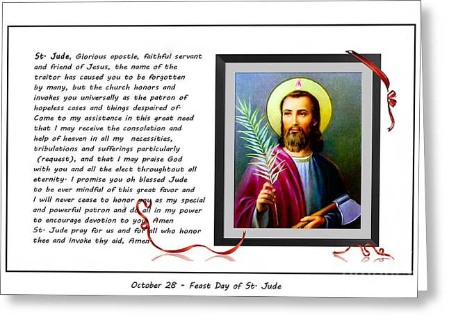 Saint Hope Greeting Cards - St. Jude Patron of Hopeless Cases - Prayer - Petition Greeting Card by Barbara Griffin