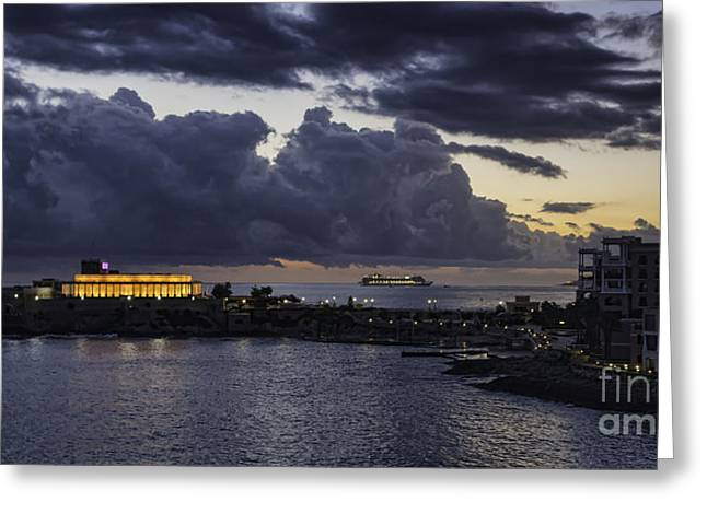 Maltese Greeting Cards - St Julians Malta at night Greeting Card by Frank Bach