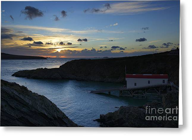 Outlook Greeting Cards - St Justinian Sunset Greeting Card by Doug Wilton