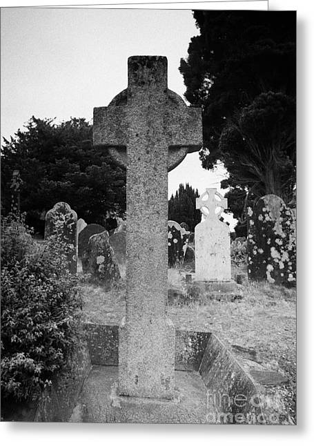 St Kevins Cross High Celtic Cross Grave Stone Glendalough Monastery County Wicklow Republic Of Ireland Greeting Card by Joe Fox