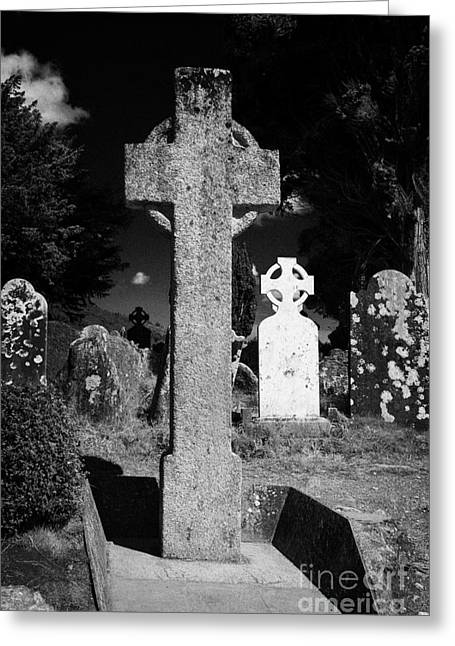 Significance Greeting Cards - St Kevins high cross celtic grave stone in cemetary graveyard Glendalough monastic site Greeting Card by Joe Fox