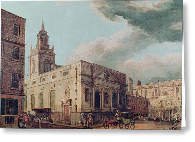 Horse And Carriage Greeting Cards - St. Lawrence Jewry And The Guildhall Oil On Canvas Greeting Card by Thomas Malton