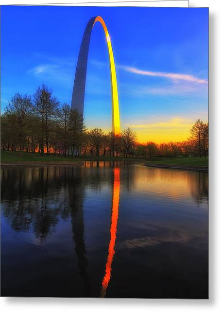 National Tapestries - Textiles Greeting Cards - St. Loius Arch Greeting Card by Bill Frische