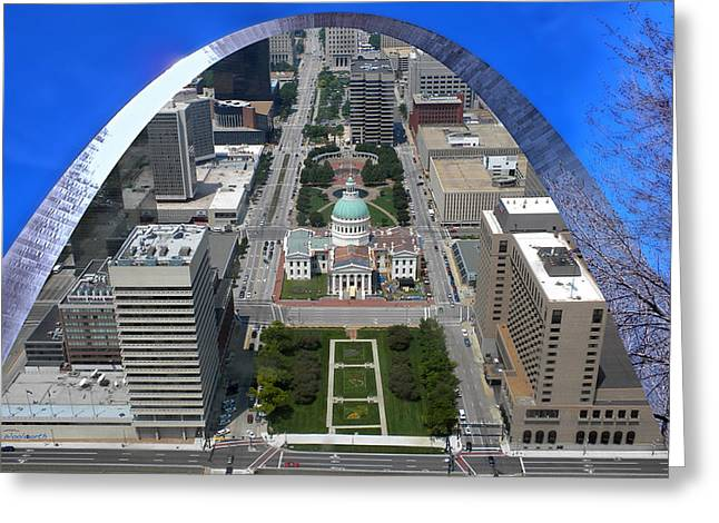 Recently Sold -  - Merging Greeting Cards - St Louis A View From The Arch Merged Image Greeting Card by Thomas Woolworth
