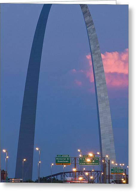 Arches Memorial Photography Greeting Cards - St Louis Arch From the Cass Avenue Bridge Greeting Card by Garry McMichael