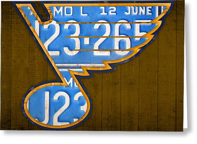 St. Louis Greeting Cards - St Louis Blues Hockey Team Retro Logo Vintage Recycled Missouri License Plate Art Greeting Card by Design Turnpike