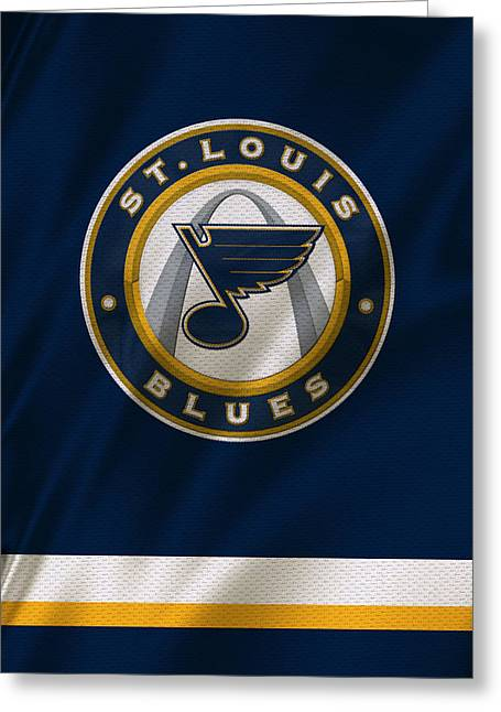 Hockey Greeting Cards - St Louis Blues Uniform Greeting Card by Joe Hamilton