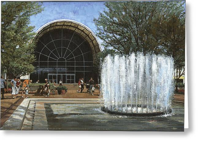 Flowing Fountain Greeting Cards - St. Louis Botanical Garden Fountain Greeting Card by Don  Langeneckert