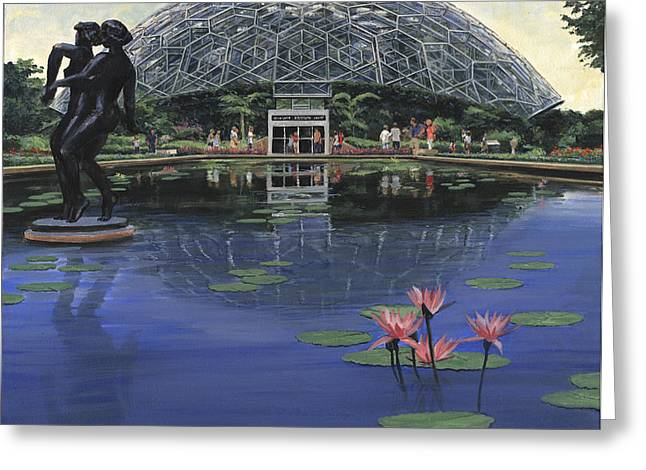 St Louis Missouri Greeting Cards - St. Louis Botanical Gardens Climatron Greeting Card by Don  Langeneckert