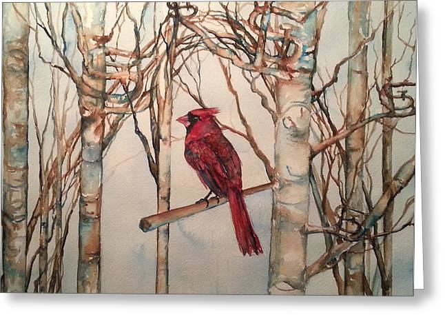 Baseball Paintings Greeting Cards - St Louis Cardinal Redbird Greeting Card by Christy  Freeman