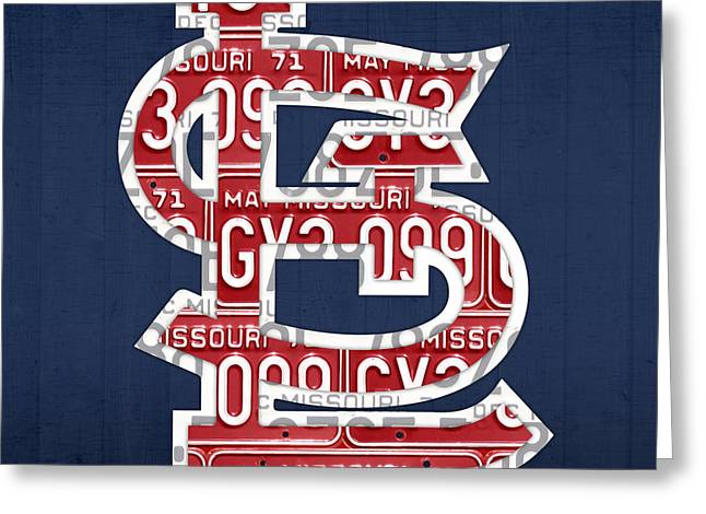 Vintage Map Mixed Media Greeting Cards - St. Louis Cardinals Baseball Vintage Logo License Plate Art Greeting Card by Design Turnpike
