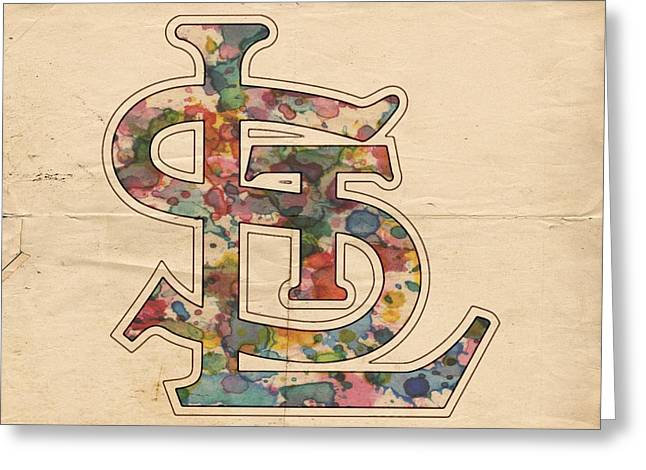 St Louis Cardinals Logo Vintage Greeting Card by Florian Rodarte