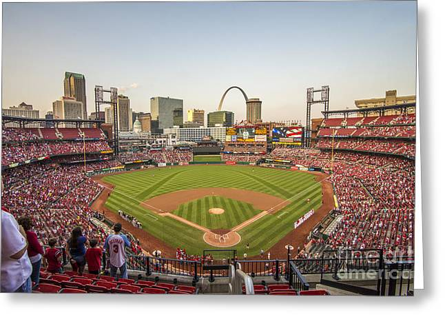 National Anthem Greeting Cards - St. Louis Cardinals National Anthem Greeting Card by David Haskett