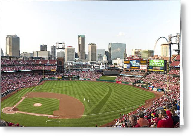 Boys Of Summer Greeting Cards - St. Louis Cardinals Pano 1 Greeting Card by David Haskett