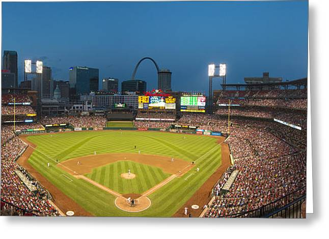 Boys Of Summer Greeting Cards - St. Louis Cardinals Busch Stadium Pano 5 Greeting Card by David Haskett