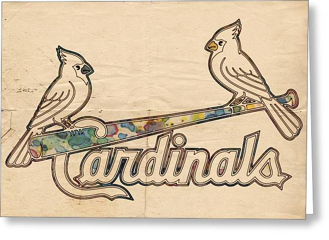 Bat Digital Greeting Cards - St Louis Cardinals Poster Art Greeting Card by Florian Rodarte