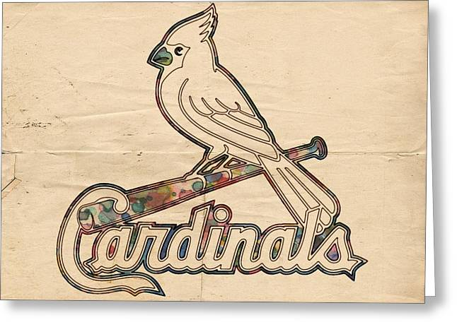 Sports Logo Greeting Cards - St Louis Cardinals Poster Vintage Greeting Card by Florian Rodarte