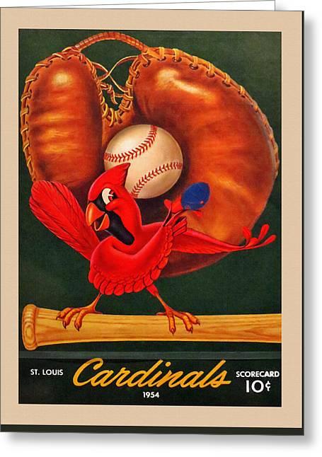 St. Louis Cardinals Vintage 1954 Scorecard Greeting Card by Big 88 Artworks