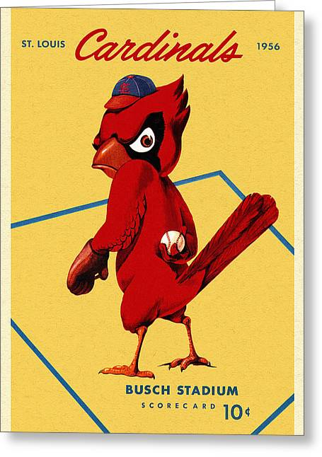 Pitcher Drawings Greeting Cards - St. Louis Cardinals Vintage 1956 Program Greeting Card by Big 88 Artworks