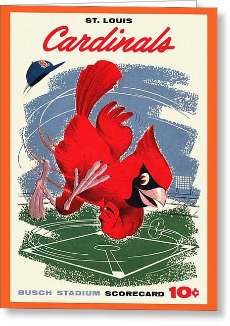League Paintings Greeting Cards - St. Louis Cardinals Vintage 1958 Scorecard Greeting Card by Big 88 Artworks