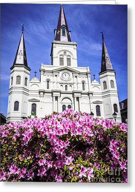 French Quarter Photographs Greeting Cards - St. Louis Cathedral and Flowers in New Orleans Greeting Card by Paul Velgos