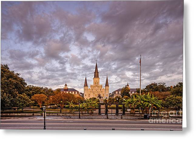 Colonial Architecture Greeting Cards - St. Louis Cathedral and Jackson Square - French Quarter - New Orleans Louisiana Greeting Card by Silvio Ligutti